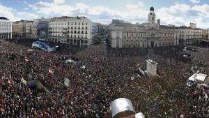 Madrid, Puerta del Sol, le 31 janvier 2015, lieu de rassemblement de la manifestation du mouvement Podemos. (rfi)