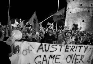 Cortège, à Thessalonique, des camarades de Xekinima, organisation soeur de la Gauche révolutionnaire en Grèce, au lendemain du referendum du 5 juillet.