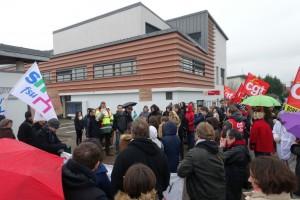 Rassemblement au Collège Edouard Branly le 4 février. (Photo Normandie-Actu)