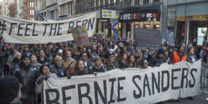 MANHATTAN, NEW YORK, NY, UNITED STATES - 2016/01/30: Demonstrators hold signs and chant in support of Bernie Sanders. Supporters of Democratic Presidential candidate Bernie Sanders rallied in Union Square Park in New York City and marched on Broadway to Zuccotti Park in lower Manhattan. (Photo by Albin Lohr-Jones/Pacific Press/LightRocket via Getty Images)