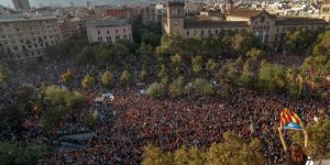 People gather near the old university of Barcelona, two days after the banned independence referendum in Barcelona, Spain October 3, 2017. REUTERS/Yves Herman