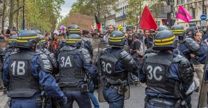 PARIS, FRANCE - 2016/09/15: Today tens of thousands of people took to the streets of Paris to protest the controversial new labor law in France. The police speaks of 13,500 people attending whilst the unions talk about up to 50.000. The demonstration turned violent on several occasions, when protesters attacked the police with stones and Molotov-cocktails and the police shot teargas and used pepper spray. Several people where arrested. (Photo by Willi Effenberger/Pacific Press/LightRocket via Getty Images)