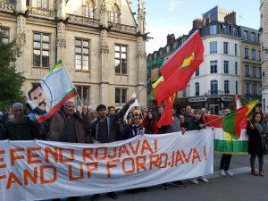 Rassemblement en solidarité et en défense du Rojava, à Rouen, mercredi 9 octobre